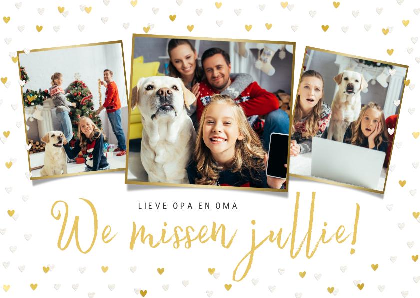 Kerstkaarten - Kerstkaart corona fotokaart liefde hartjes goud missen