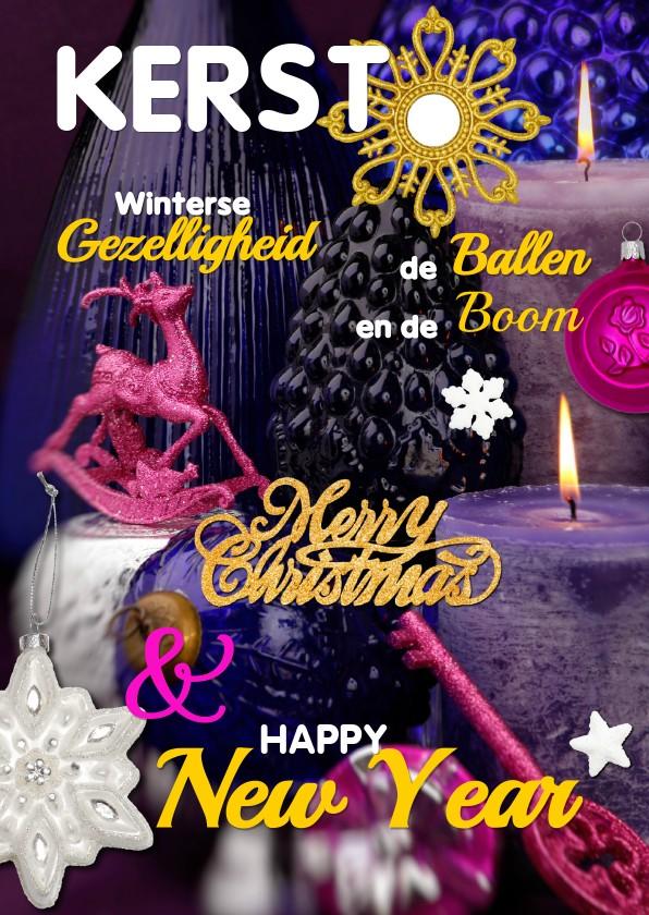 Kerstkaarten - Kerstkaart cover magazine paars
