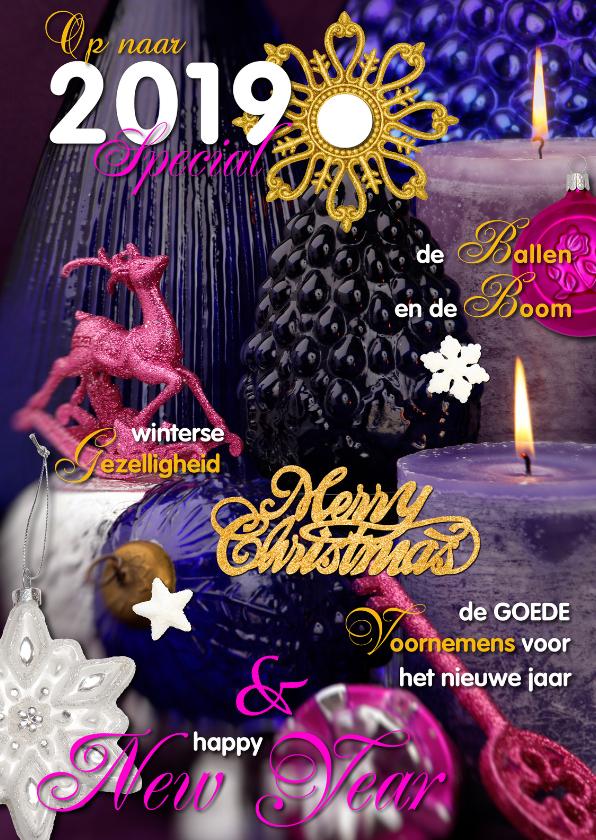 Kerstkaarten - Kerstkaart cover stilleven paars 2019