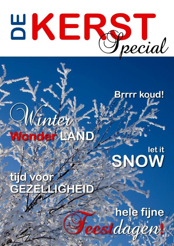 Kerstkaarten - Kerstkaart cover tijdschrift binnen sneeuw