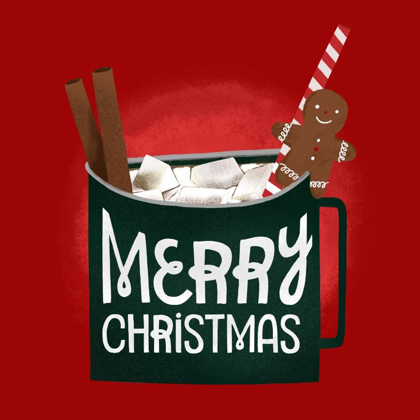 Kerstkaarten - Kerstkaart cozy christmas chocolademelk mok
