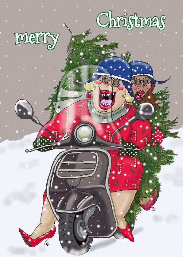 Kerstkaarten - Kerstkaart dames op de scooter