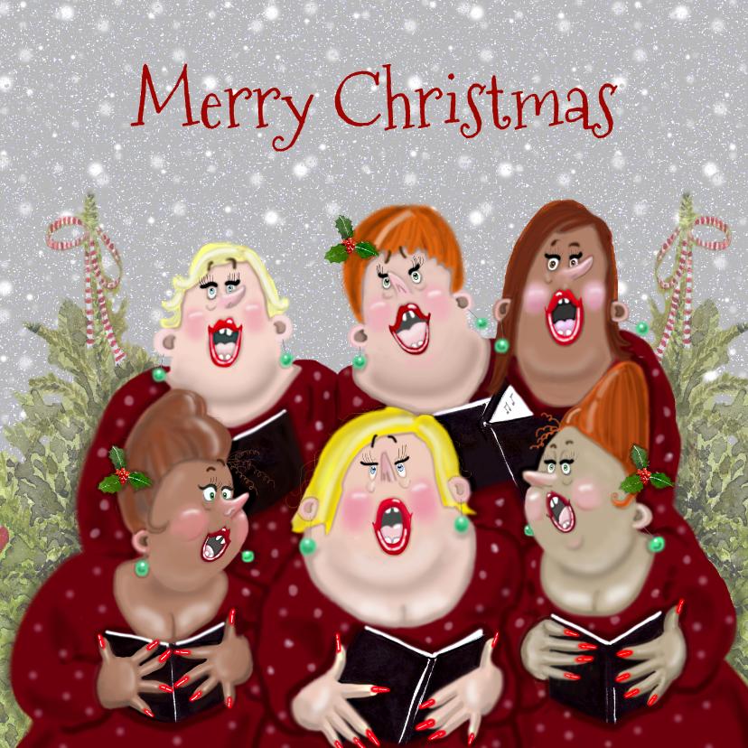 Kerstkaarten - Kerstkaart dames samenzang