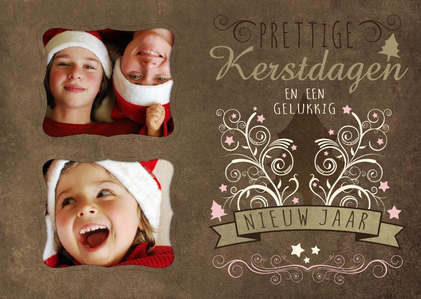 Kerstkaarten - Kerstkaart decoratief 2 foto's bruin