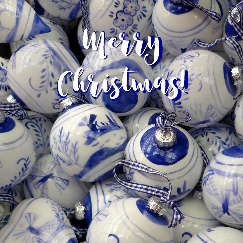 Kerstkaarten - Kerstkaart delftsblauwe kerstballen