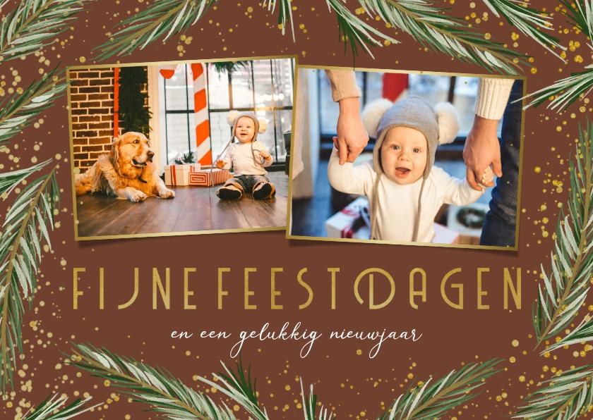 Kerstkaarten - Kerstkaart dennenkader 2 foto's fijne feestdagen