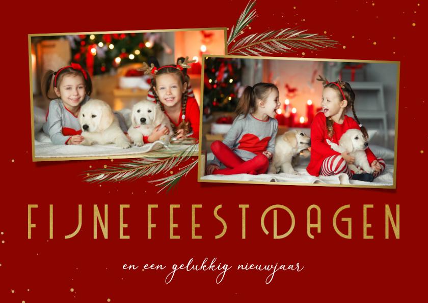 Kerstkaarten - Kerstkaart dennentakjes 2 foto's fijne feestdagen