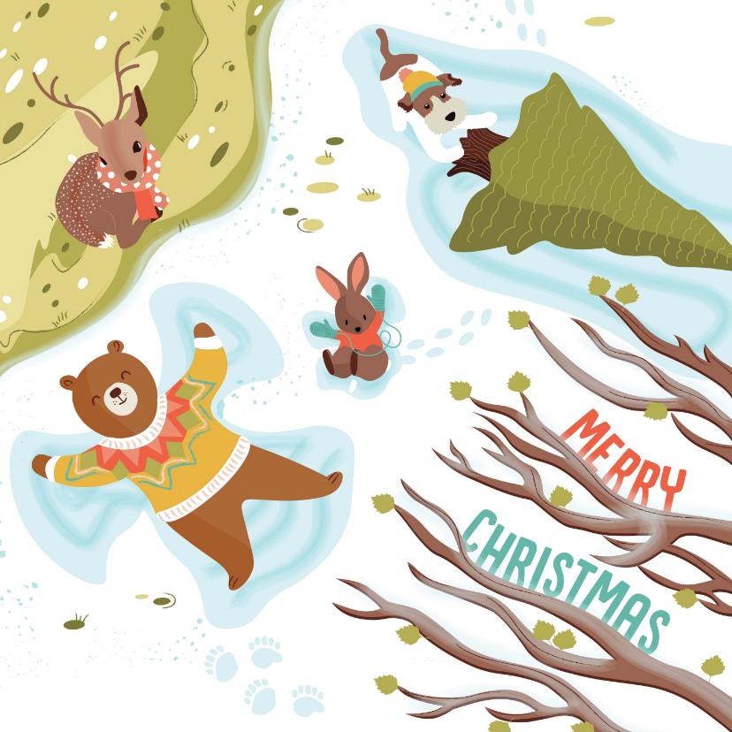 Kerstkaarten - Kerstkaart dieren in de sneeuw illustratie