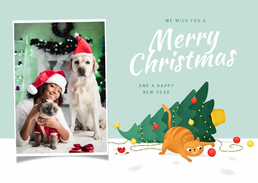 Kerstkaarten - Kerstkaart dieren kat kerstboom grappig kerstboom kerstbal