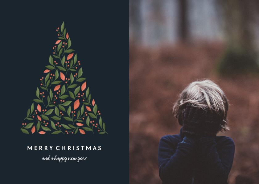 Kerstkaarten - Kerstkaart donker met botanische kerstboom en foto