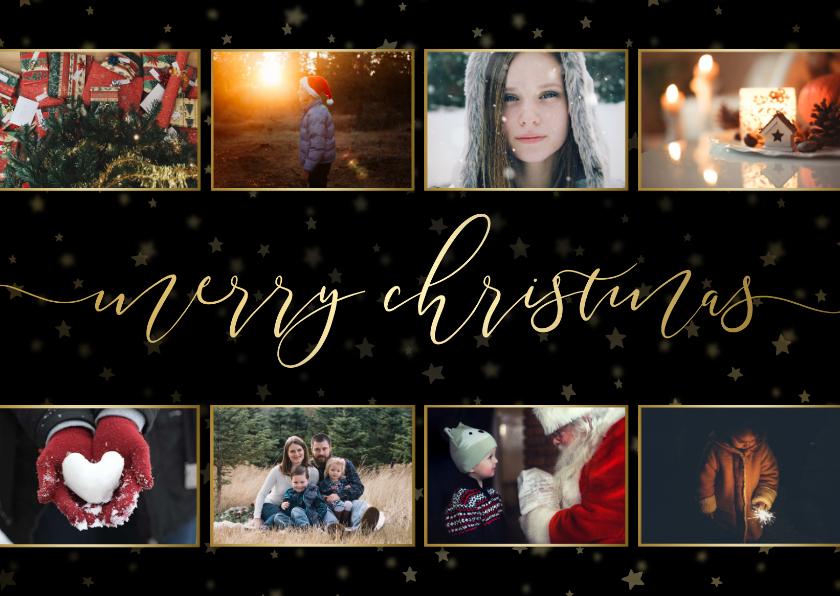 Kerstkaarten - Kerstkaart donker sterren gouden letters en foto's