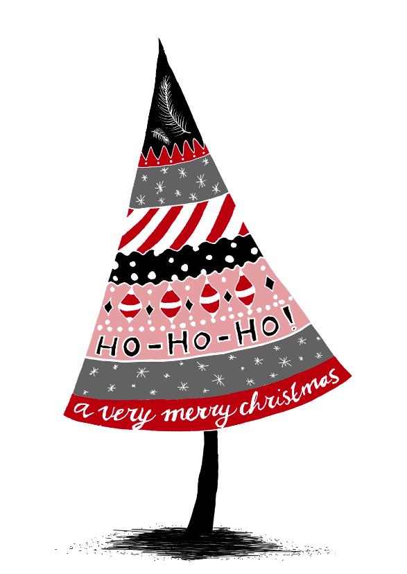Kerstkaarten - Kerstkaart doodles zwart rood-HR