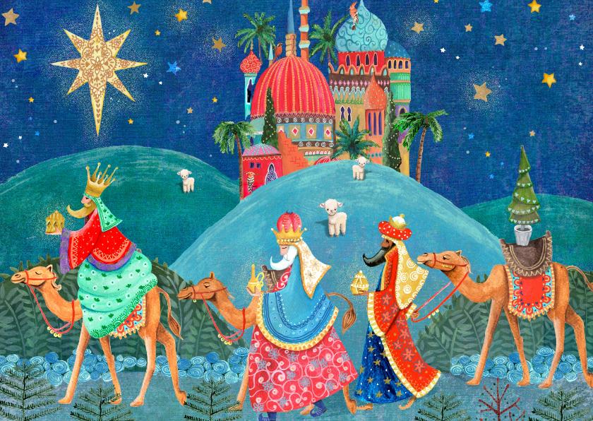 Kerstkaarten - Kerstkaart drie koningen en bethlehem