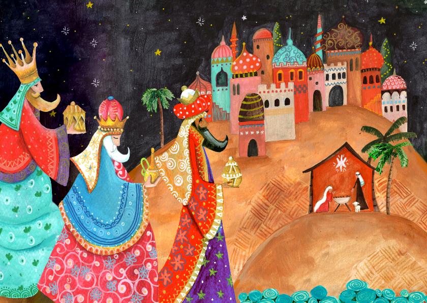 Kerstkaarten - Kerstkaart drie koningen met bethlehem en stalletje