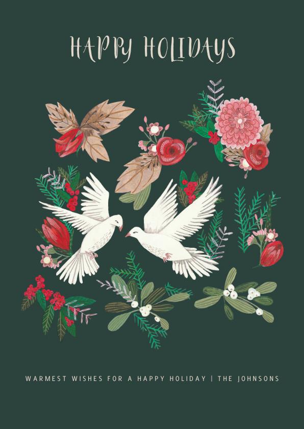 Kerstkaarten - Kerstkaart duiven en botanisch bloemen