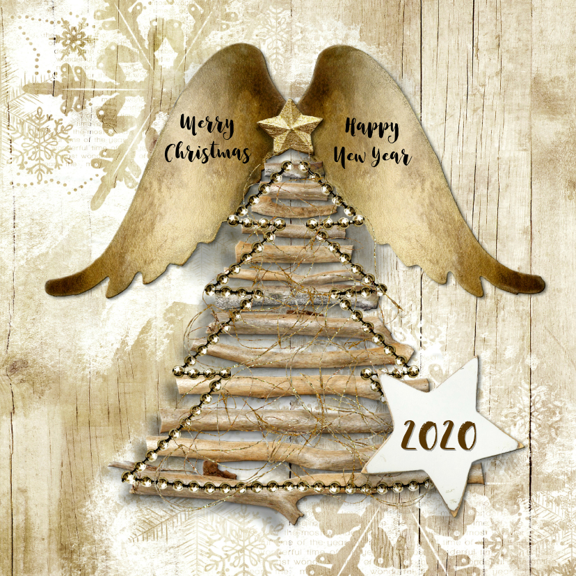 Kerstkaarten - Kerstkaart duurzaam hout 2019 engel