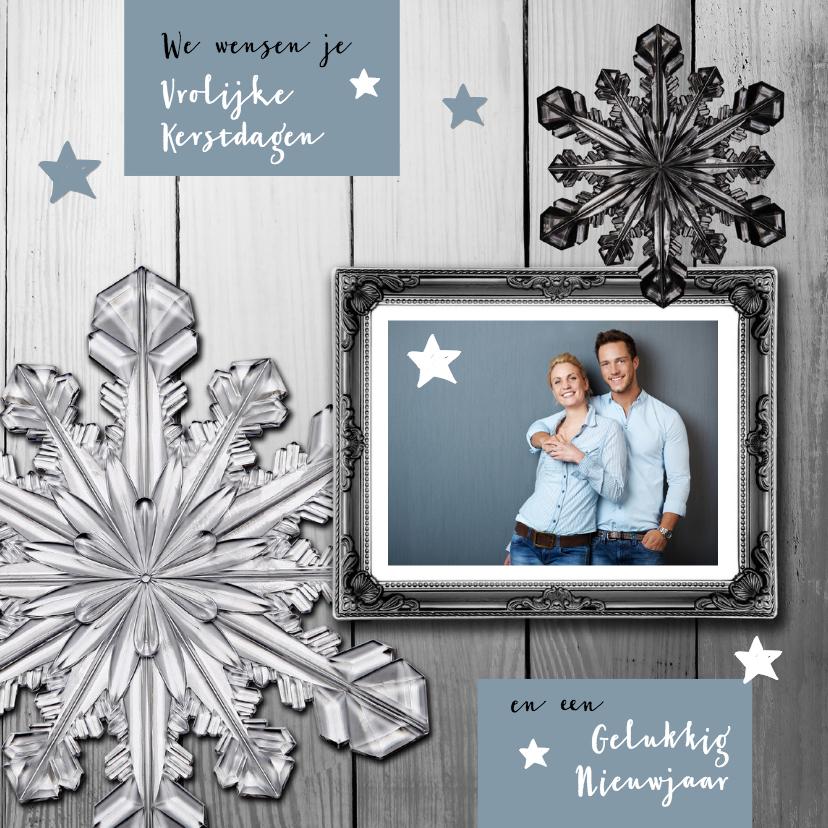 Kerstkaarten - Kerstkaart eigen foto blauwgrijs hout met lijst
