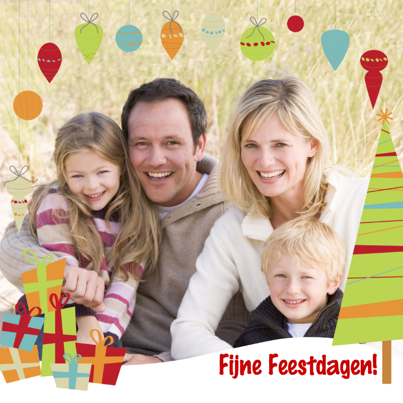 Kerstkaarten - Kerstkaart Eigen Foto Kerstballen