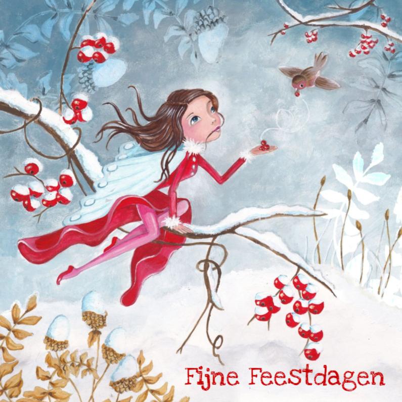 Kerstkaarten - Kerstkaart engel SNEEUW Illustratie