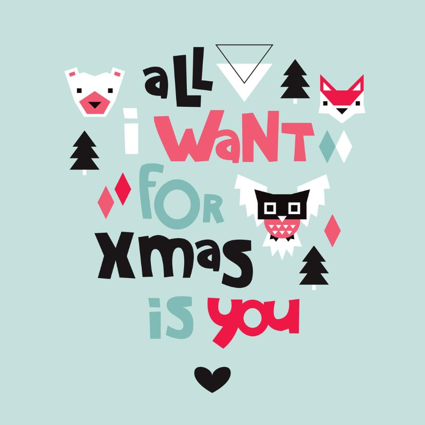 Kerstkaarten - Kerstkaart engels met dieren