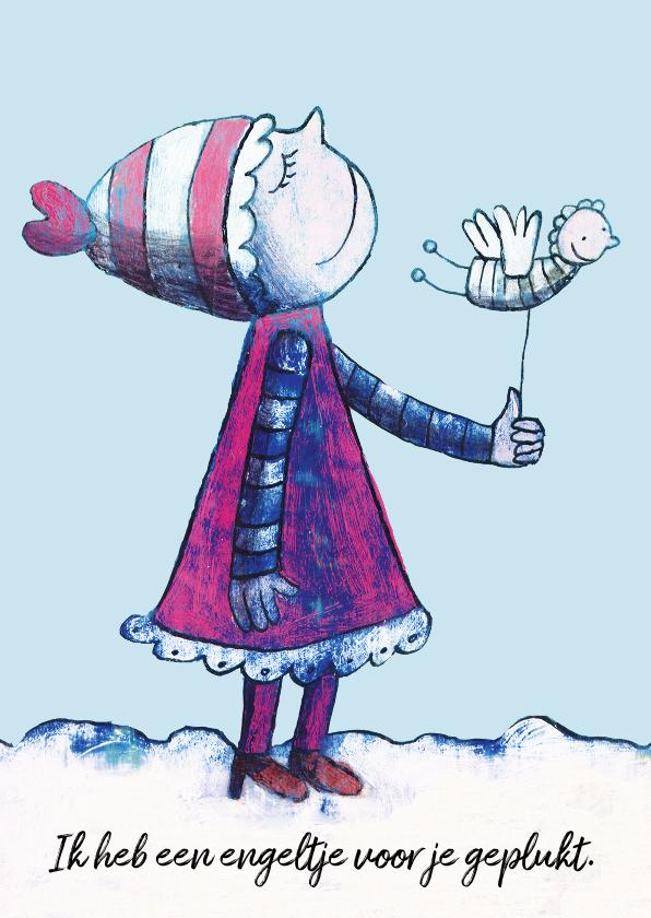 Kerstkaarten - kerstkaart engeltje winter