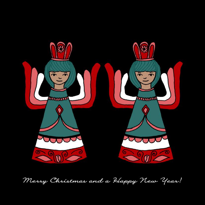 Kerstkaarten - Kerstkaart engeltjes tweeling-HR
