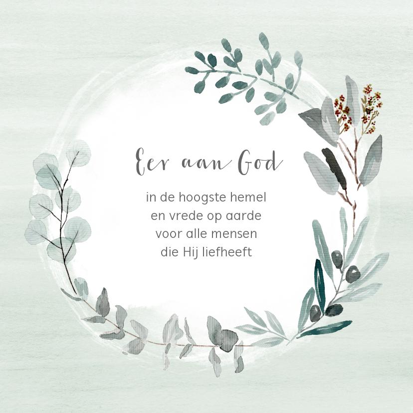 Kerstkaarten - Kerstkaart eucalyptus takjes met eigen (christelijke) tekst