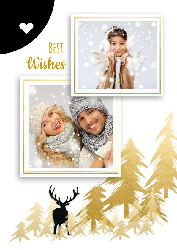 Kerstkaarten - Kerstkaart familie foto's zwart wit goud