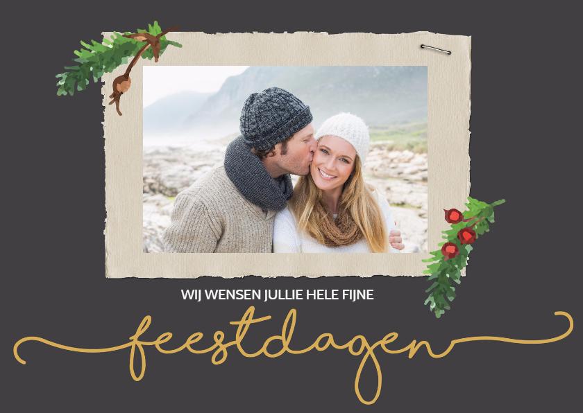 Kerstkaart feestdagen met foto 1
