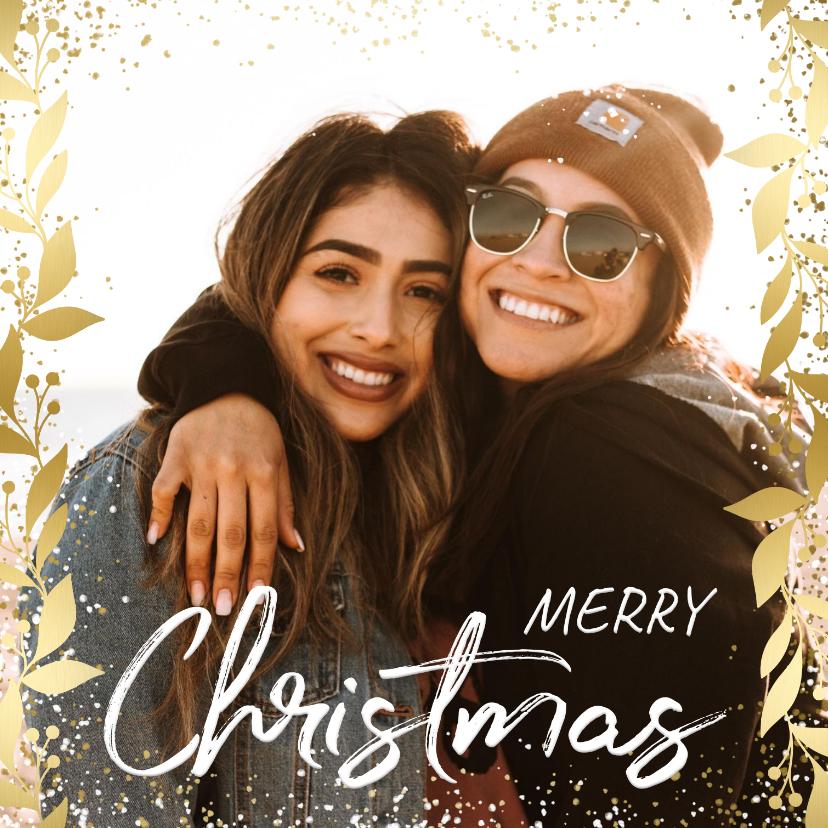Kerstkaarten - Kerstkaart feestelijk gouden kader met confetti