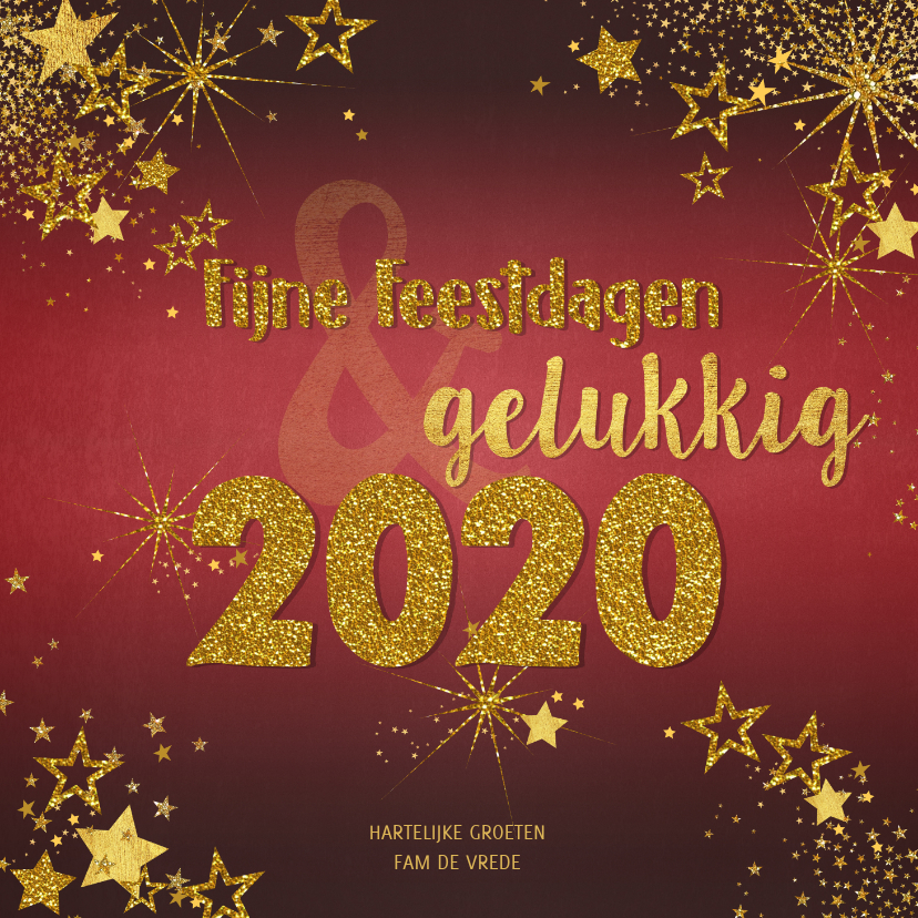 Kerstkaarten - Kerstkaart feestelijke rode kaart goud sterren en tekst 2020