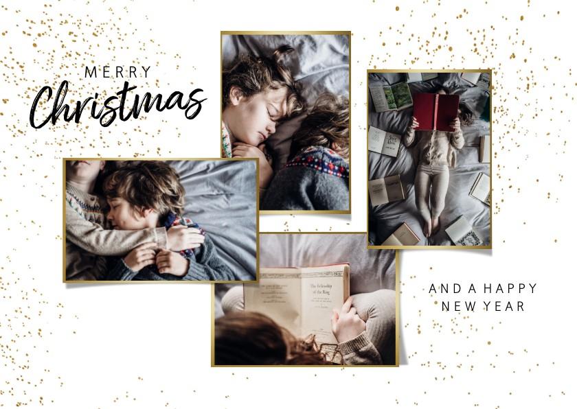 Kerstkaarten - Kerstkaart foto collage goudlook