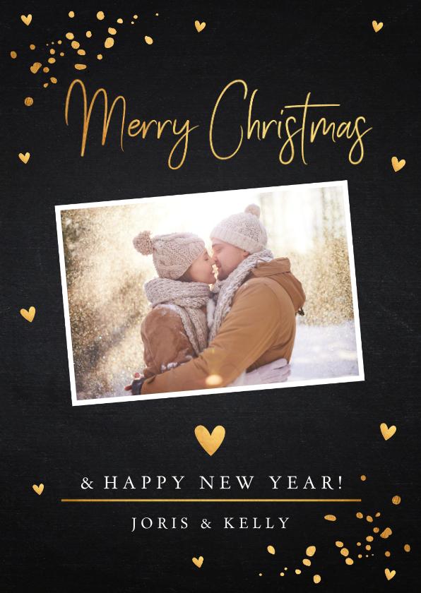 Kerstkaarten - Kerstkaart foto confetti goud krijtbord