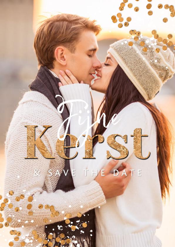 Kerstkaarten - Kerstkaart foto confetti goud spetters save the date