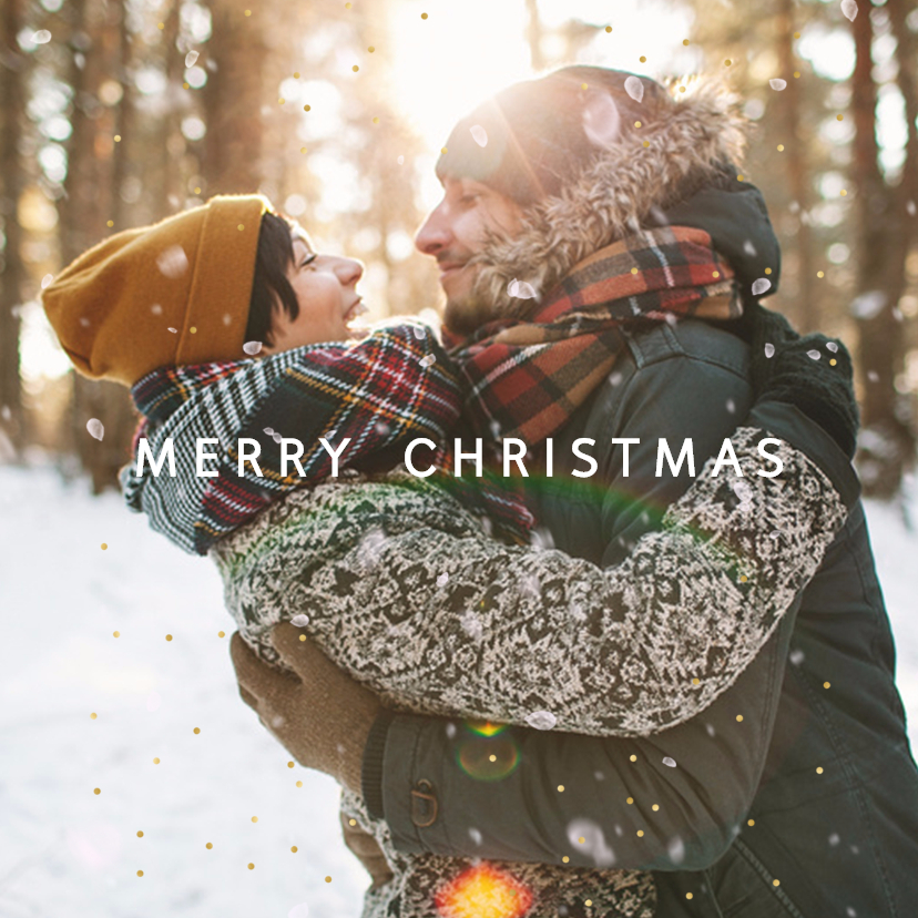 Kerstkaarten - Kerstkaart foto-effect  sneeuw en goudstipjes isf