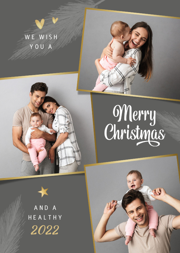 Kerstkaarten - Kerstkaart foto goud hartjes sterren stijlvol grijs