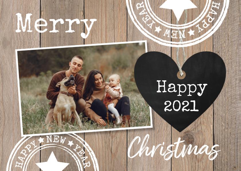 Kerstkaarten - Kerstkaart foto krijtbord hartje houtprint