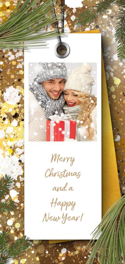 Kerstkaarten - Kerstkaart foto label en kersttakken