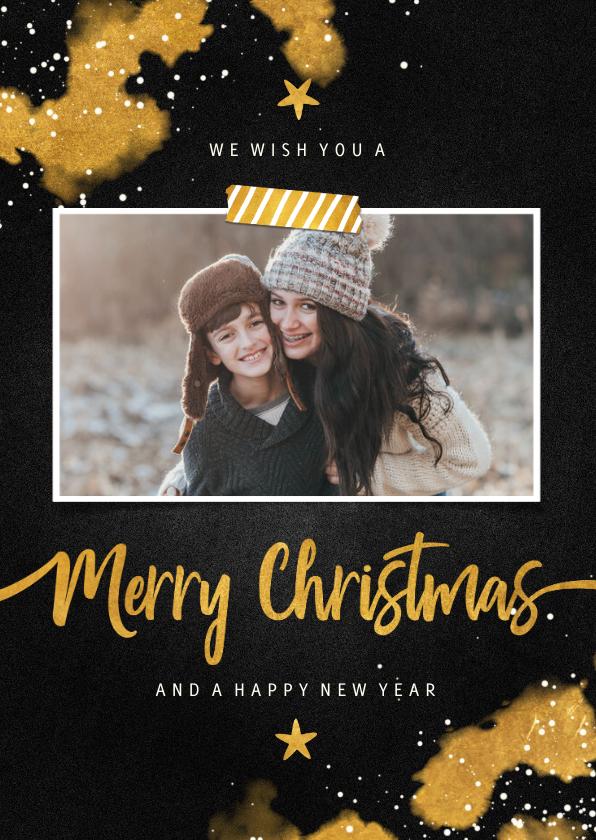 Kerstkaarten - Kerstkaart foto Merry Christmas krijtbord met goud