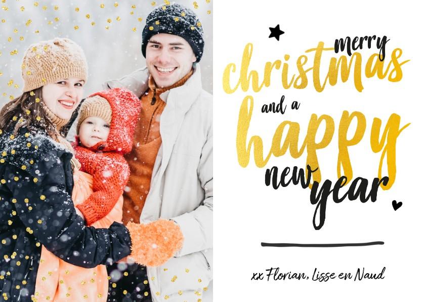 Kerstkaarten - Kerstkaart - foto met glitter en gouden letters