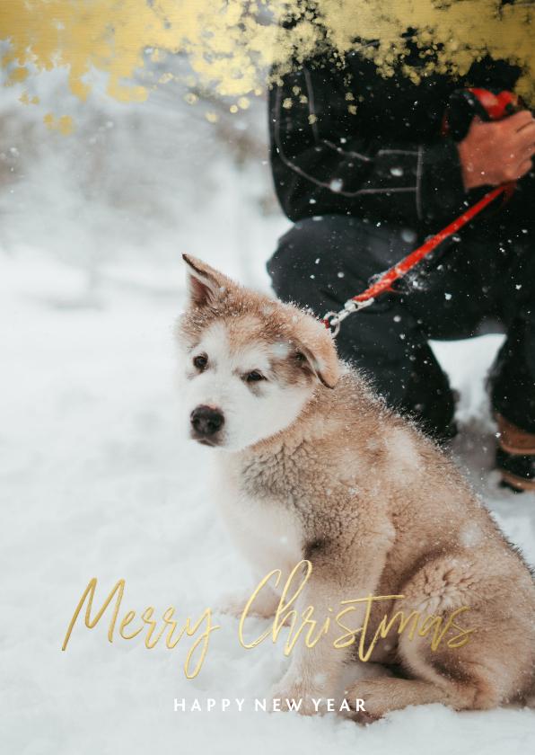 Kerstkaarten - Kerstkaart foto met gouden randje en 'Merry Christmas'