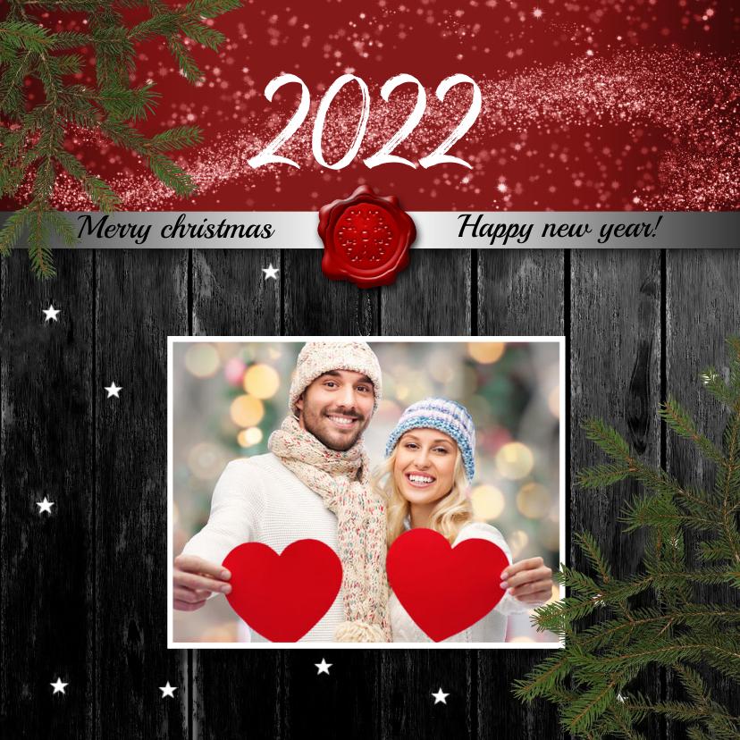 Kerstkaarten - Kerstkaart foto op hout 2022