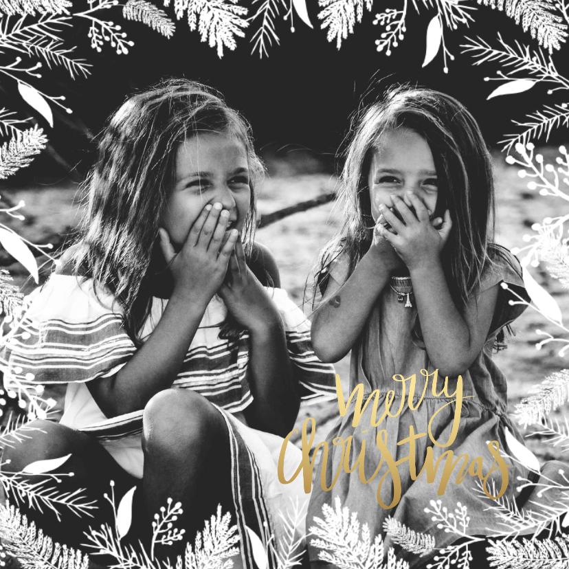 Kerstkaarten - Kerstkaart foto rand bloem - HM