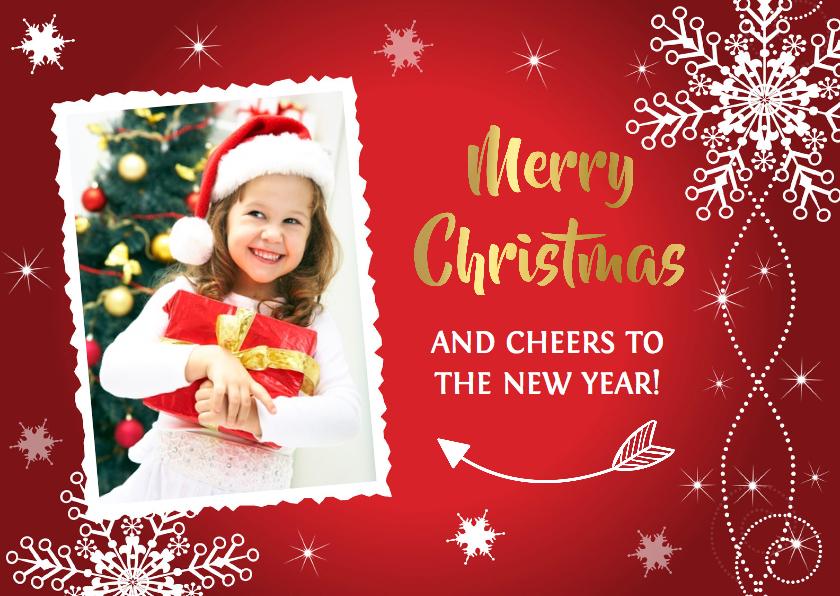 Kerstkaarten - Kerstkaart foto rood design - LB