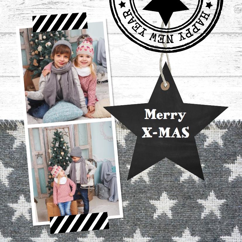Kerstkaarten - Kerstkaart foto sterren grijs