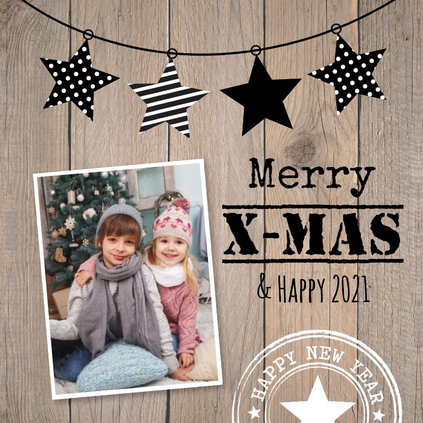 Kerstkaarten - Kerstkaart foto sterren houtlook