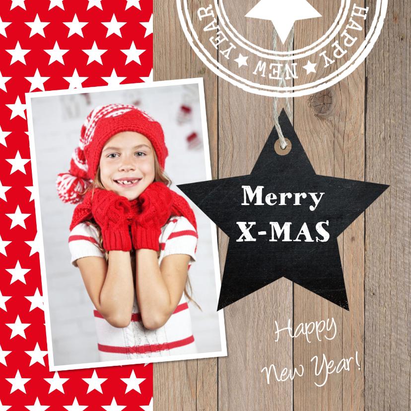 Kerstkaarten - Kerstkaart foto sterren rood hout