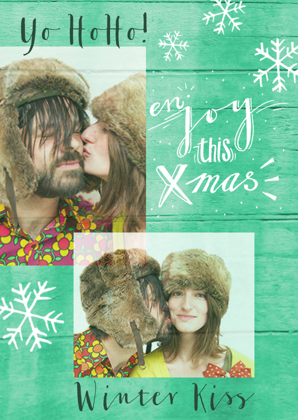 Kerstkaarten - kerstkaart foto winterkus