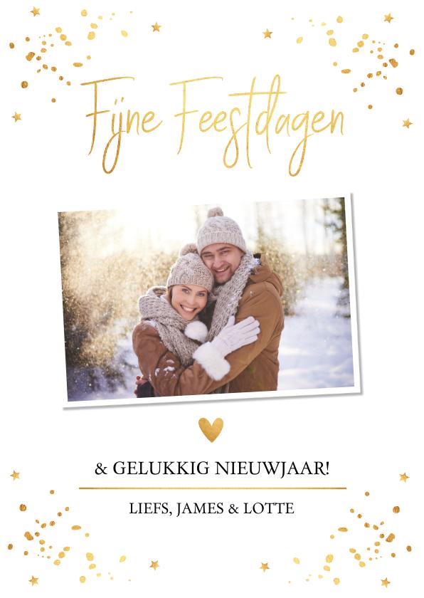 Kerstkaarten - Kerstkaart foto wit goudlook confetti