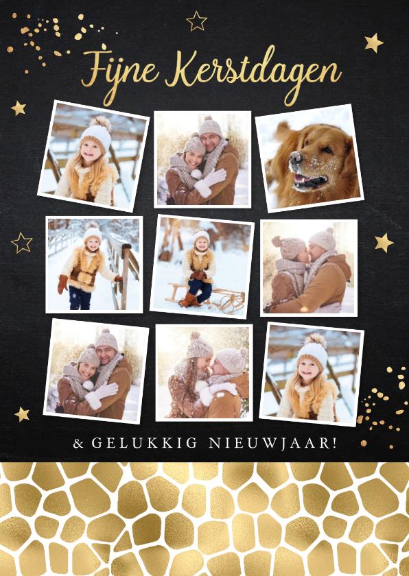 Kerstkaarten - Kerstkaart fotocollage zwart panterprint goudlook